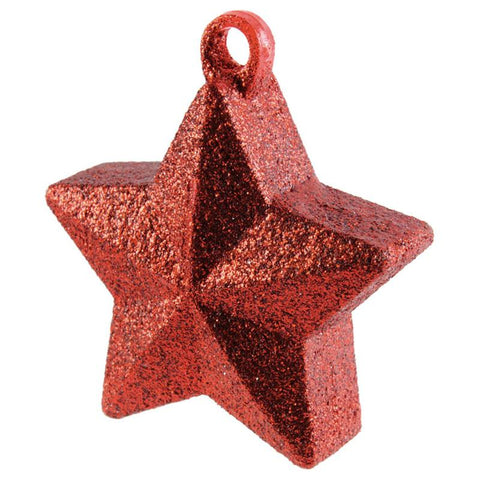 star shaped balloon weight coverd in red glitter and sparkles