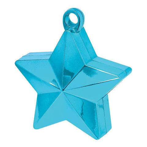 caribbean blue star shaped balloon weight with a metallic finish