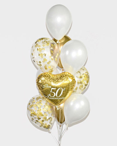 50th Anniversary Confetti Balloon Bouquet - Chrome Gold, White