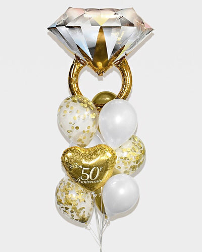 50th Anniversary Wedding Ring Confetti Balloon Bouquet - Chrome Gold, White