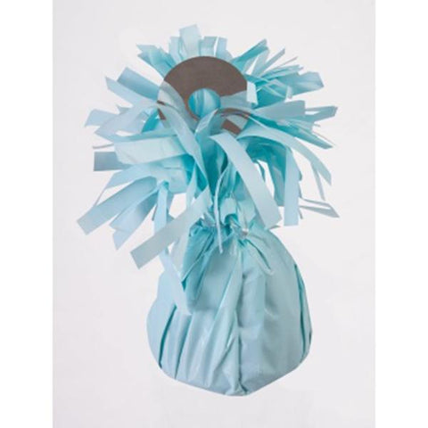 small pastel blue foil balloon weight to hold balloon bouquets