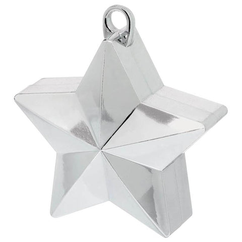 a silver star-shaped balloon weight