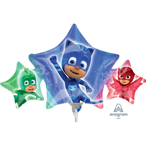 a small air filled foil balloon of pj masks that sits on a white plastic stick