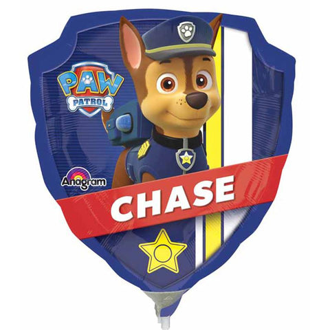 a small air filled foil balloon of paw patrol that sits on a white plastic stick