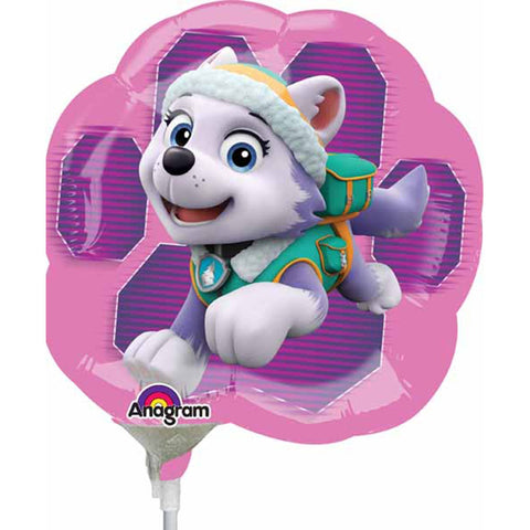 a small air filled foil balloon of paw patrol girl that sits on a white plastic stick