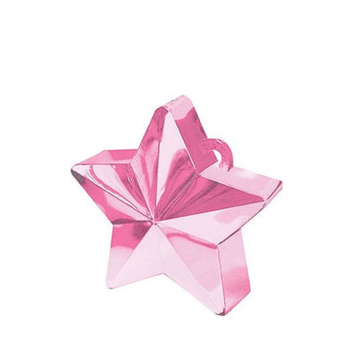 pink metalic star shape balloon weight to hold down bouquets of balloons