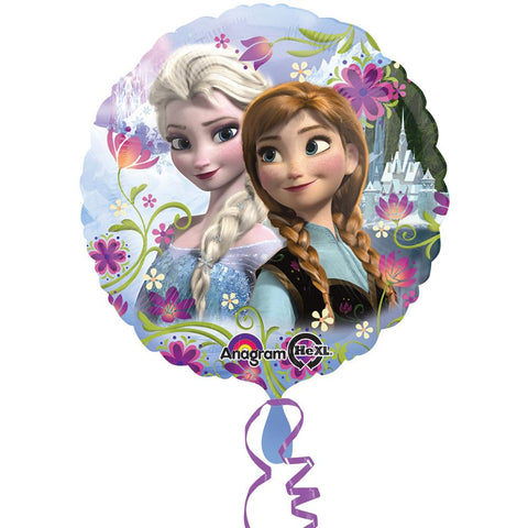 a light blue and purple balloon featuring anna and elsa from frozen