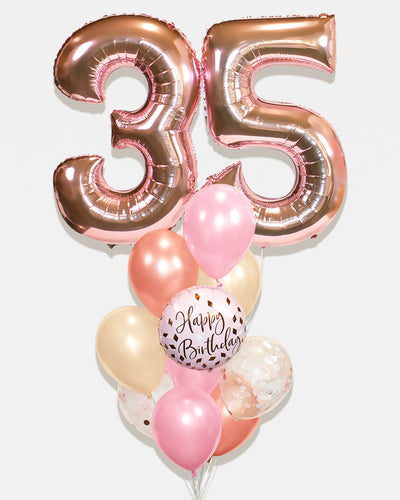 Number Confetti Birthday Balloon Bouquet - Pink, Blush Nude, Rose Gold