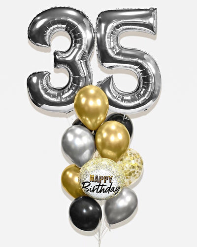 Number Confetti Birthday Balloon Bouquet - Chrome Gold, Black, Silver