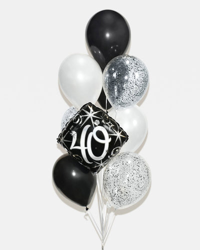 Age Confetti Balloon Bouquet - Black, White
