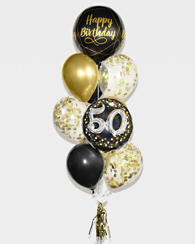 Age Confetti Birthday Balloon Bouquet - Black, Chrome Gold