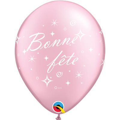 Ballon en Latex Rose 12 po Bonne Fête - Tourbillons Pétillants