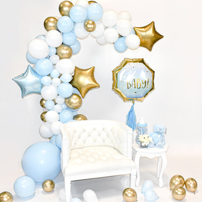 Blue, White and Gold Balloon Garland