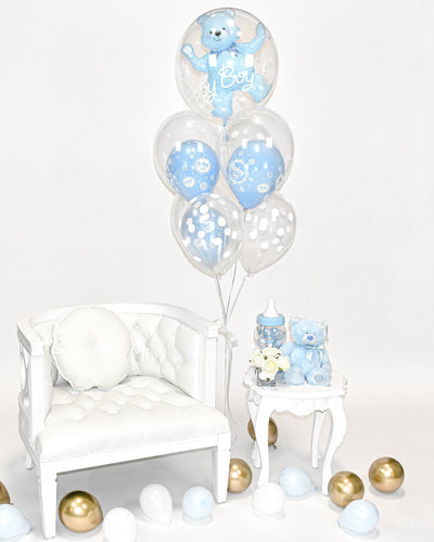 Baby Boy Bear Balloon Bouquet - Blue, Clear