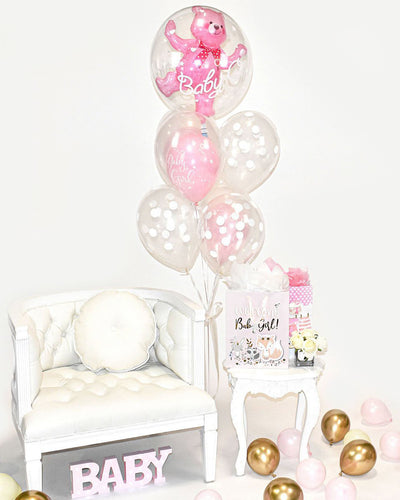 Bouquet Ballons Ours Bébé Fille - Rose, Transparent