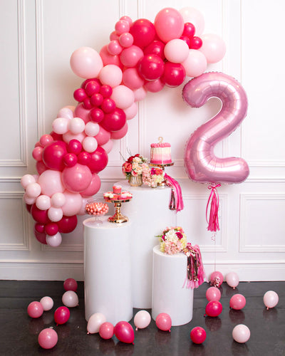 Balloon Garland with Number Balloon - Fuchsia, Pastel Pink, Pink