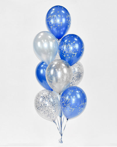 Confetti Birthday Balloon Bouquet - Blue, Silver