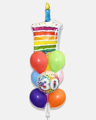 Age Birthday Cake Balloon Bouquet - Rainbow