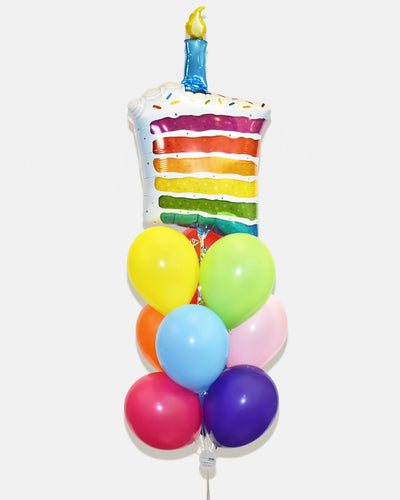 Birthday Cake Balloon Bouquet - Rainbow
