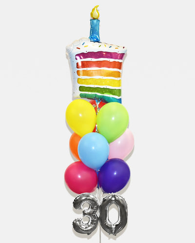 "Birthday Cake Balloon Bouquet With 16"" Number - Rainbow"