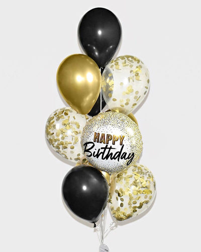 Birthday Confetti Balloon Bouquet - Black, Chrome Gold