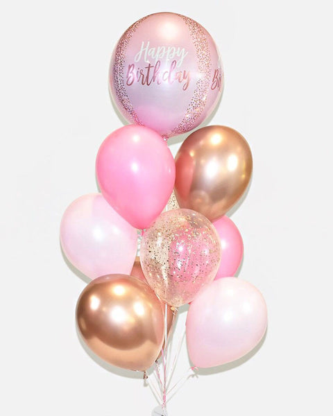 Birthday Confetti Balloon Bouquet - Candy Pink, Pink, Copper