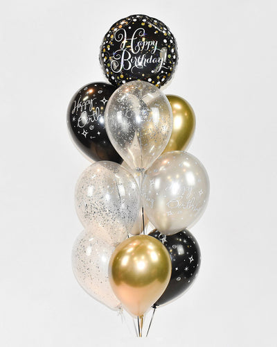 Birthday Confetti Balloon Bouquet - Chrome Gold, Black, Silver