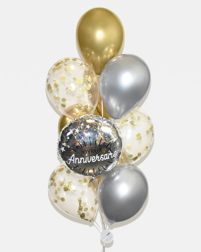 Birthday Confetti Balloon Bouquet - Chrome Gold, Silver