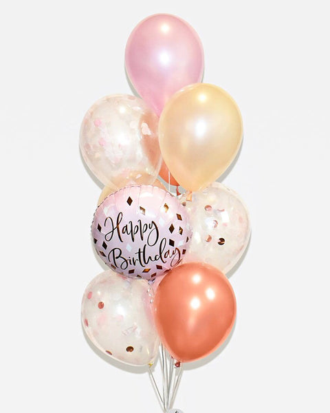Birthday Confetti Balloon Bouquet - Pink, Blush Nude, Rose Gold