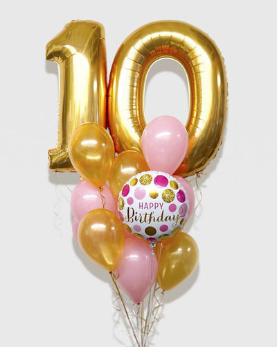 Number Birthday Balloon Bouquet - Gold, Pink