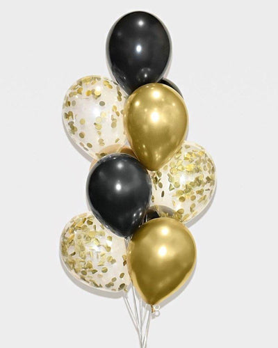 Black, Chrome Gold and Gold Confetti Balloon Bouquet