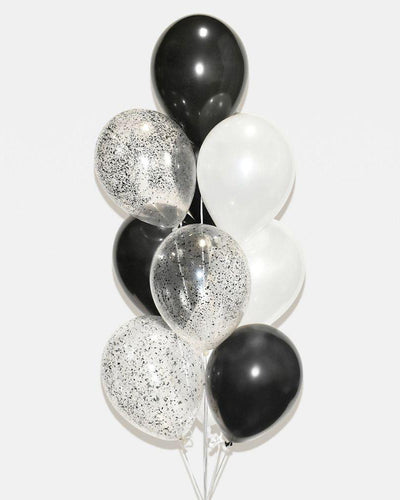 Black, White and Black Confetti Balloon Bouquet