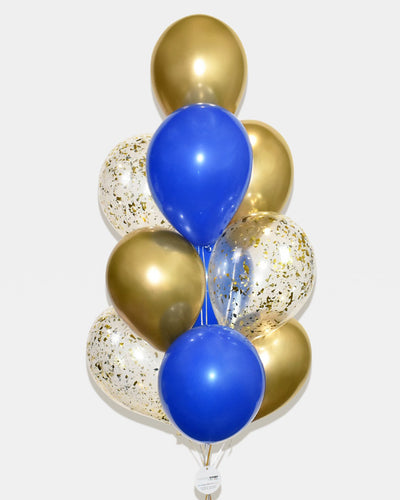 Blue, Chrome Gold and Gold Confetti Balloon Bouquet