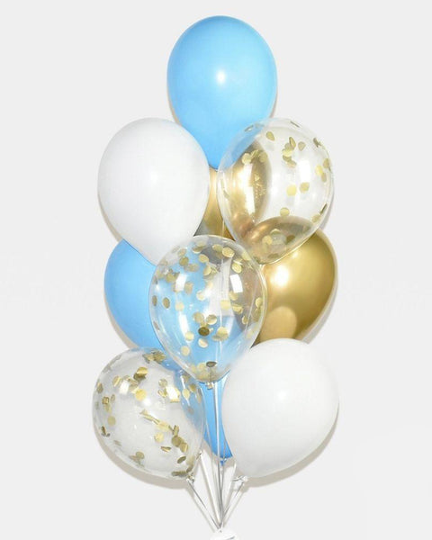 Blue, White and Chrome Gold Confetti  Balloon Bouquet