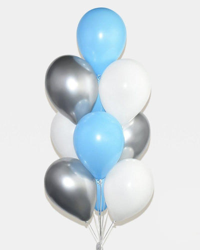 Blue, White and Silver Balloon Bouquet