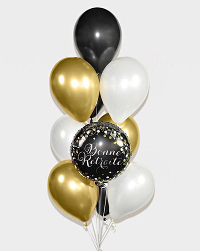 Bonne Retraite Balloon Bouquet - Chrome Gold, Black, White