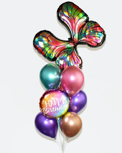 Butterfly Balloon Bouquet - Chrome Pink, Purple, Copper, Green
