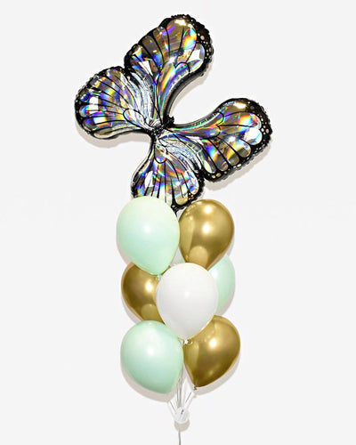 Butterfly Balloon Bouquet - Silver, Mint, Chrome Gold, White