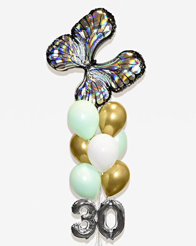 "Butterfly Balloon Bouquet With 16"" Number - Silver, Mint, White, Chrome Gold"