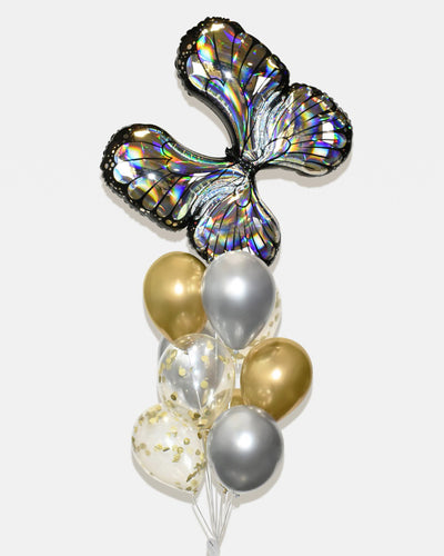 Butterfly Confetti Balloon Bouquet - Chrome Gold, Silver