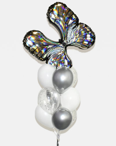 Butterfly Confetti Balloon Bouquet - Chrome Silver, White