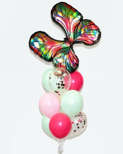 Butterfly Confetti Balloon Bouquet - Mint, Pink, Rose Gold