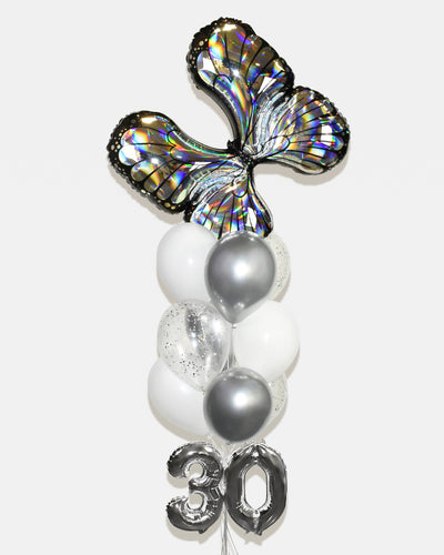 "Butterfly Confetti Balloon Bouquet With 16"" Number - Chrome Silver, White"