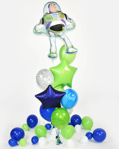 Buzz Lightyear Confetti Balloon Bouquet - Blue, Green