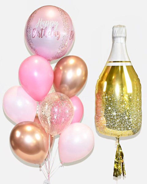 Champagne Balloon and Birthday Confetti Balloon Bouquet - Candy Pink, Pink, Copper, Gold