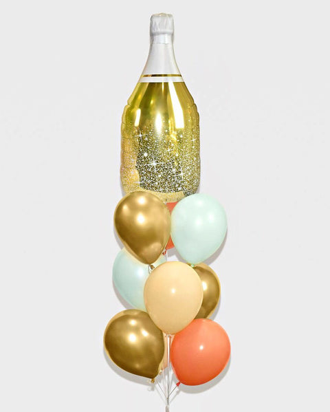 Champagne Bottle Balloon Bouquet - Mint, Coral, Blush Nude, Chrome Gold