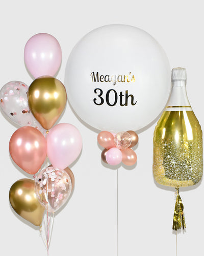 Champagne Bottle Balloon, Personalized Jumbo Balloon with Balloon Bouquet - Rose Gold, Chrome Gold, White