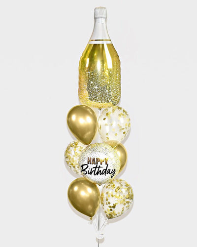Champagne Bottle Birthday Confetti Balloon Bouquet - Chrome Gold, White