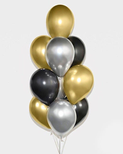 Chrome Gold, Black and Silver Balloon Bouquet