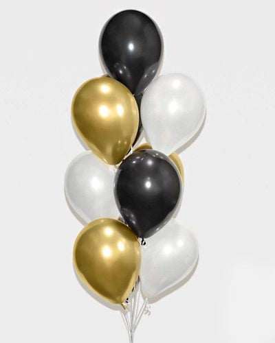 Chrome Gold, Black and White Balloon Bouquet